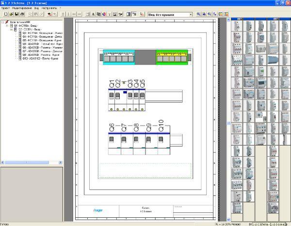 Верхнее меню позволяет сохранить файл проекта, распечатать его, отобразить спецификацию, однолинейную схему...